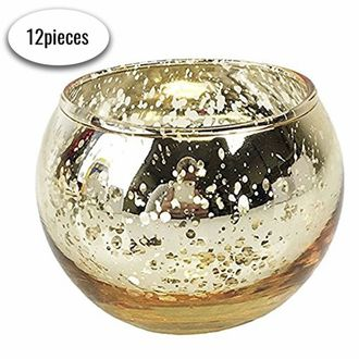 """Round Mercury Glass Votive Candle Holders 2""""H Speckled Gold (Set of 12) - Premier"""