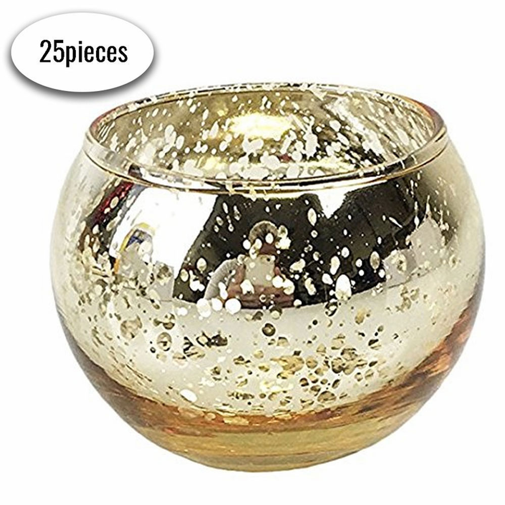 "Round Mercury Glass Votive Candle Holders 2""H Speckled Gold (Set of 25) - Premier"