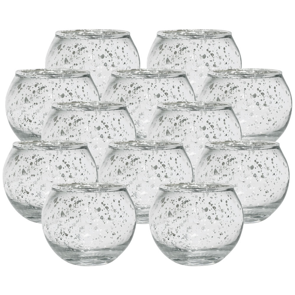 "Round Mercury Glass Votive Candle Holders 2""H Speckled Silver (Set of 12) - Premier"