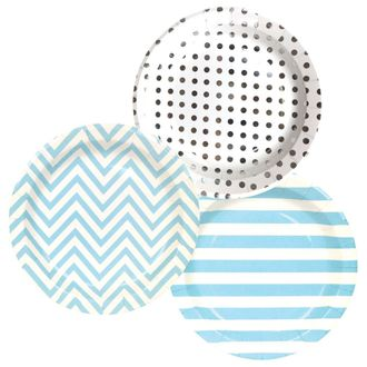 Round Paper Party Plates 9in (36pcs) – Assorted Baby Boy Decorative Pack - Premier