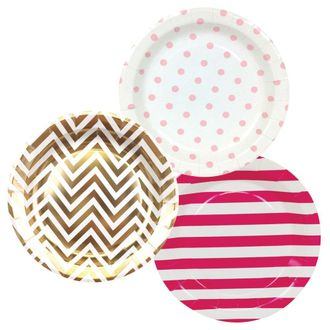 Round Paper Party Plates 9in (36pcs) – Assorted Baby Girl Decorative Pack - Premier