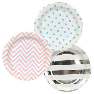 Round Paper Party Plates 9in (36pcs) – Assorted Gender Reveal Decorative Pack - Premier