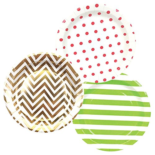Round Paper Party Plates 9in (36pcs) � Assorted Jingle Bells Decorative Pack - Premier