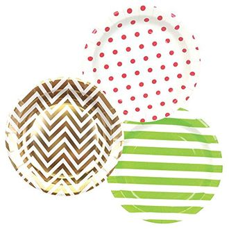 Round Paper Party Plates 9in (36pcs) – Assorted Jingle Bells Decorative Pack - Premier