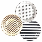 Round Paper Party Plates 9in (36pcs) � Assorted Tuxedo Decorative Pack - Premier