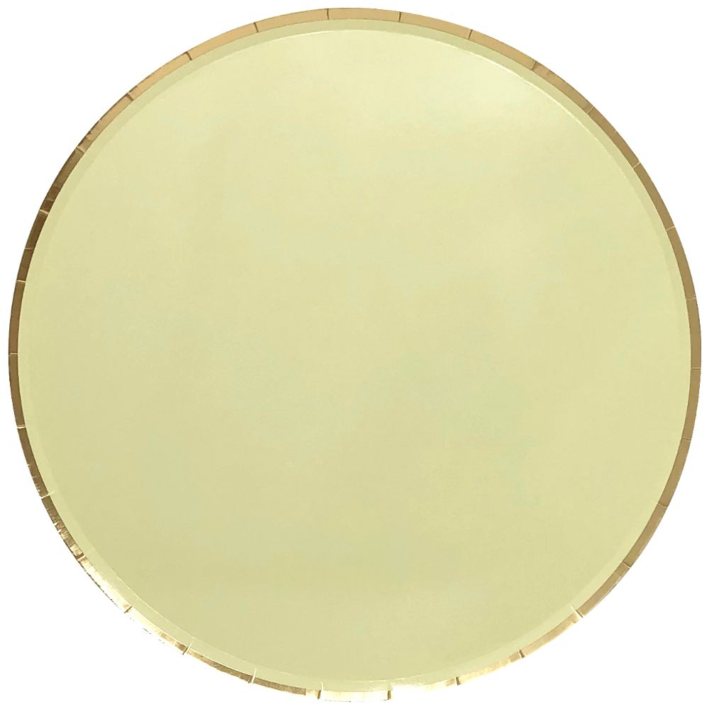 Round Paper Plates Banana Yellow Gold Trim 9in 8pcs
