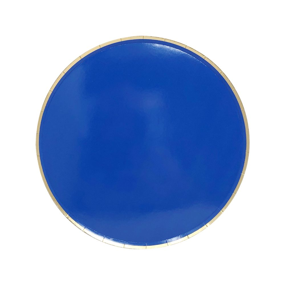 Round Paper Plates Cobalt Blue Gold Trim 7in 8pcs
