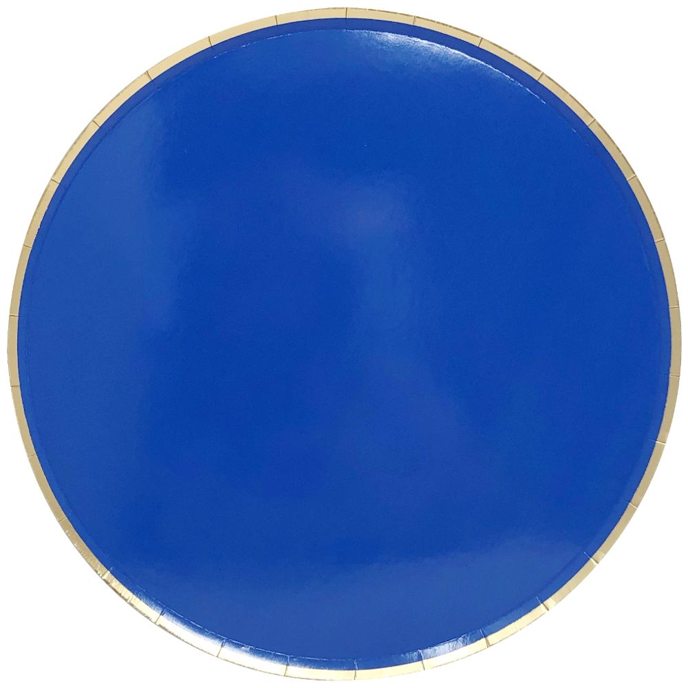 Round Paper Plates Cobalt Blue Gold Trim 9in 8pcs