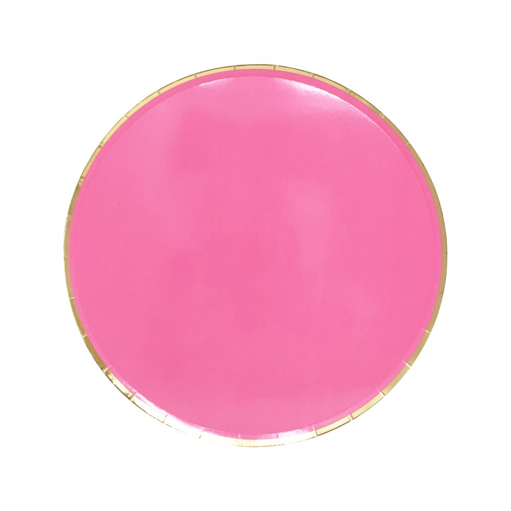 Round Paper Plates Hot Pink Gold Trim 7in 8pcs