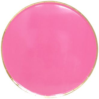 Round Paper Plates Hot Pink Gold Trim 9in 8pcs