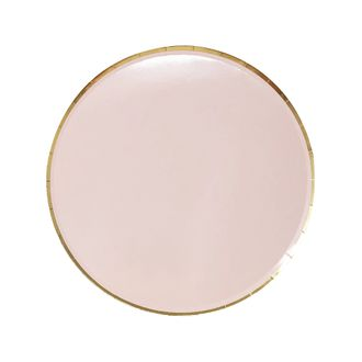 Round Paper Plates Light Pink Gold Trim 7in 8pcs