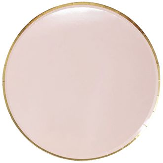 Round Paper Plates Light Pink Gold Trim 9in 8pcs