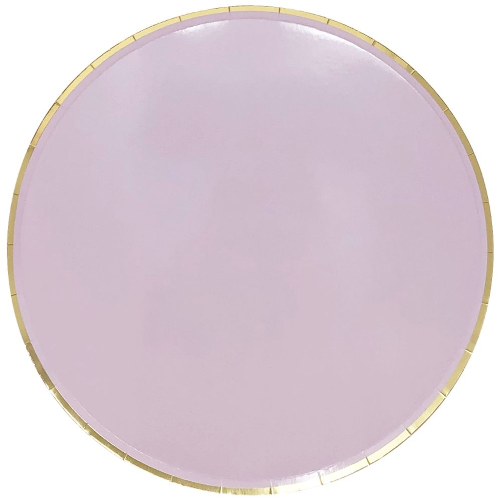 Round Paper Plates Light Purple Gold Trim 9in 8pcs