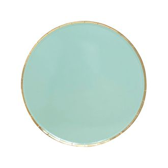 Round Paper Plates Mint Gold Trim 7in 8pcs