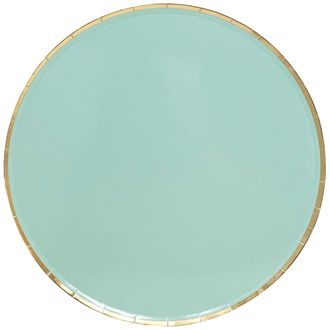 Round Paper Plates Mint Gold Trim 9in 8pcs