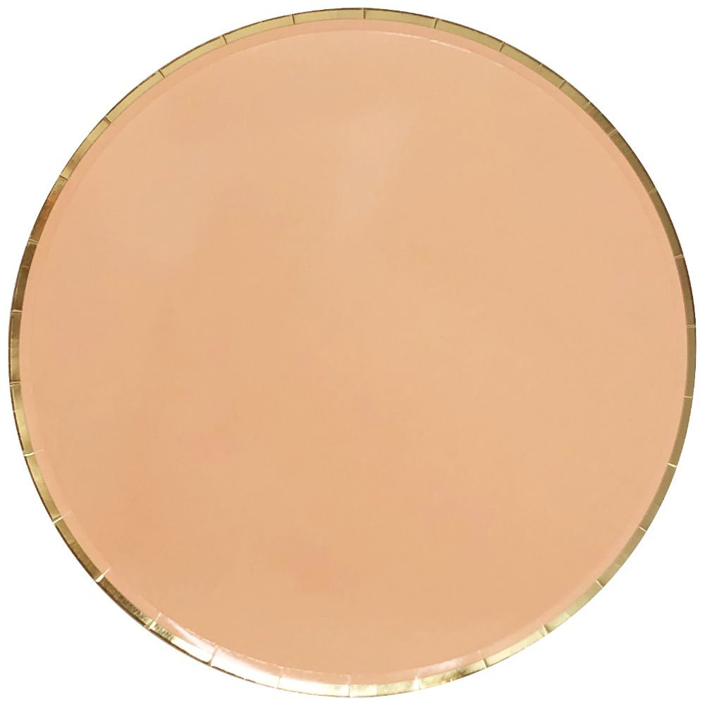 Round Paper Plates Peach Gold Trim 9in 8pcs