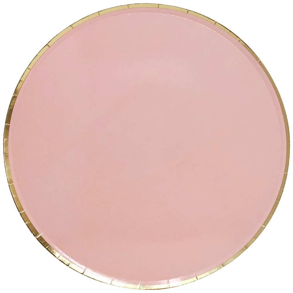 Round Paper Plates Pink Gold Trim 9in 8pcs