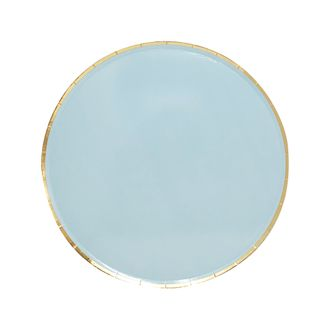 Round Paper Plates Sky Blue Gold Trim 7in 8pcs