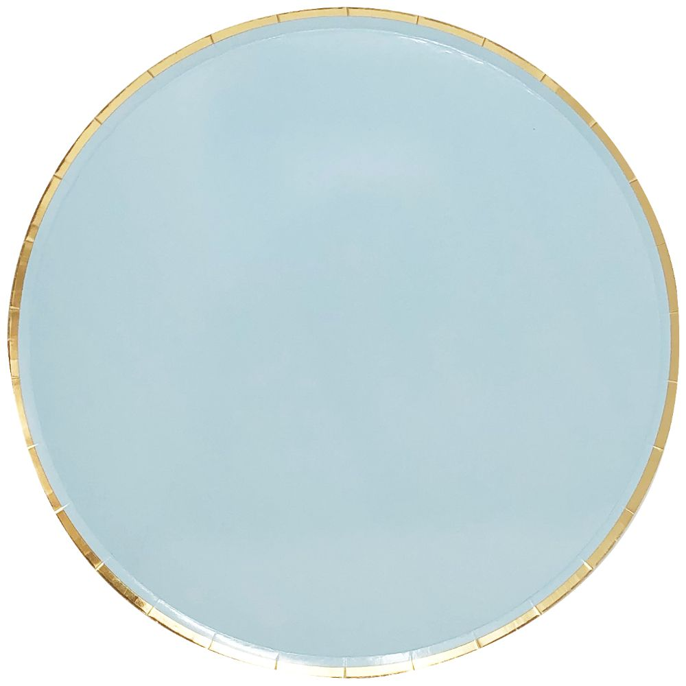Round Paper Plates Sky Blue Gold Trim 9in 8pcs