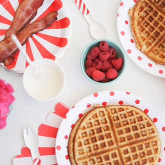 Round Party Paper Plates 9in 12pcs Red Polka Dot