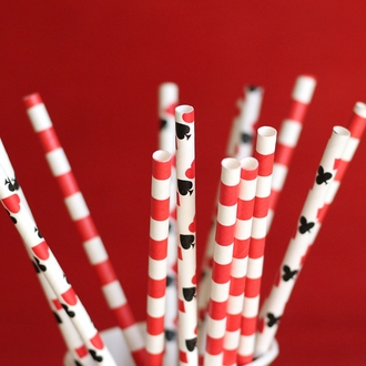 Rugby Stripe Paper Straws 25pcs Red