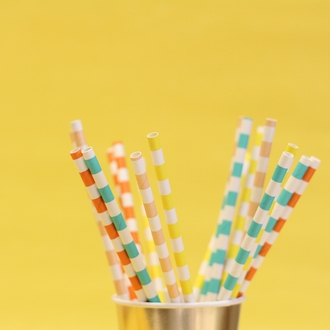 Rugby Stripe Paper Straws 25pcs Sherbet Orange