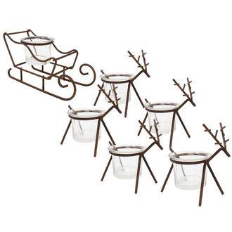 Rustic Bronze Sleigh and Reindeer Tea Light Candle Holders 6pcs