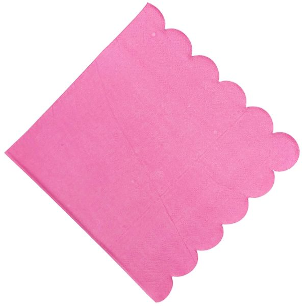 "Scallop Hot Pink Paper Napkins 6.5"" 20pcs"