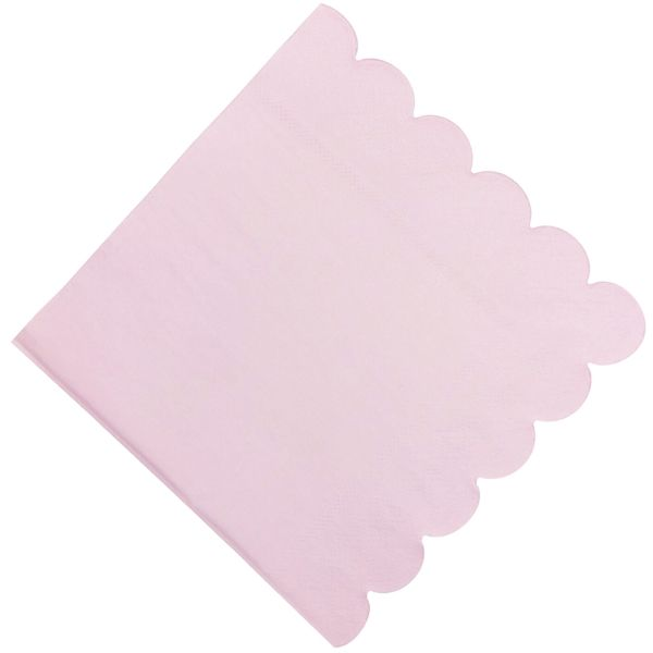 "Scallop Light Pink Paper Napkins 6.5"" 20pcs"