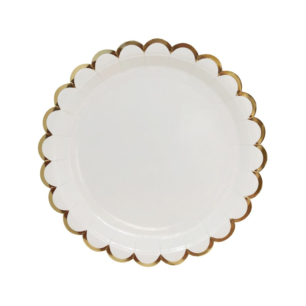 Scallop White Gold Trim Round Paper Plate 7in 8pcs