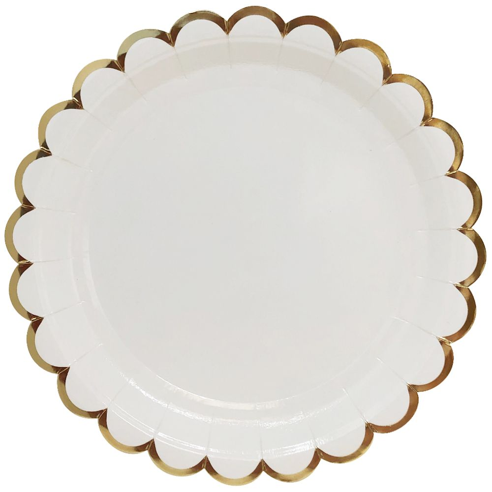 Scallop White Gold Trim Round Paper Plate 9in 8pcs