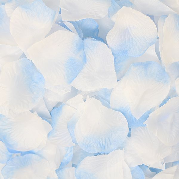 Silk Rose Flower Petals 300 Sky Blue and White