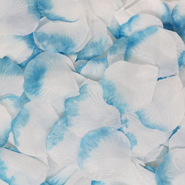 Silk Rose Flower Petals White and Blue 300