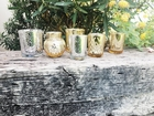 Silver and Gold 8pcs Assorted (Pattern, Size) Mercury Glass Votive Tealight Candle Holder Set - Premier