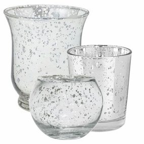 Silver Glass Votive Candle Holders