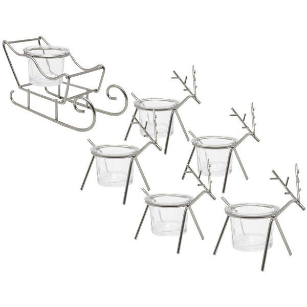 Silver Sleigh and Reindeer Tea Light Candle Holders 6pcs
