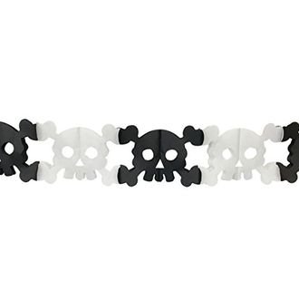 Skull & Crossbones Expandable Tissue Paper Garland Party Streamers (6 Pack, White/Black) - Premier