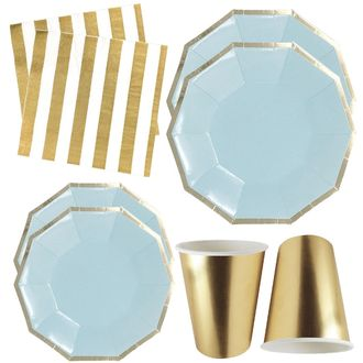Sky Blue and Gold Tableware Kit 44pcs - Premier
