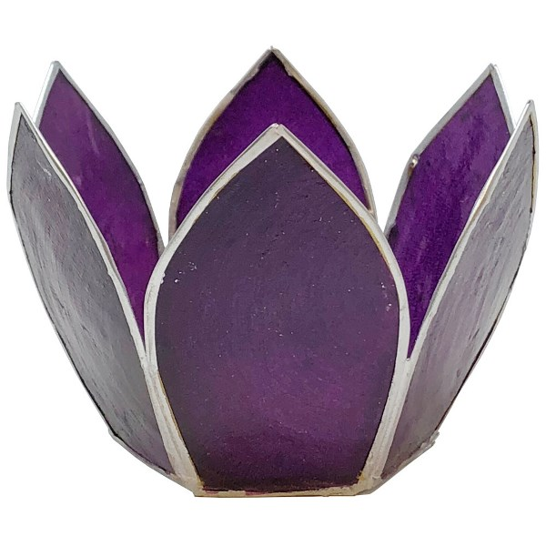 Small Capiz Lotus Candle Holder Purple and Silver Hani