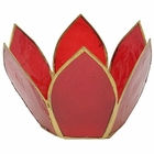 Small Capiz Lotus Candle Holder Red and Gold Hani