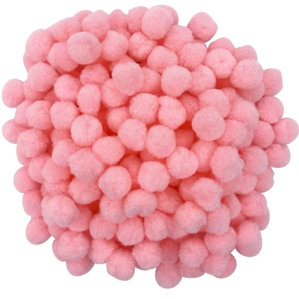 Small Craft Pom Poms 300pcs Light Pink