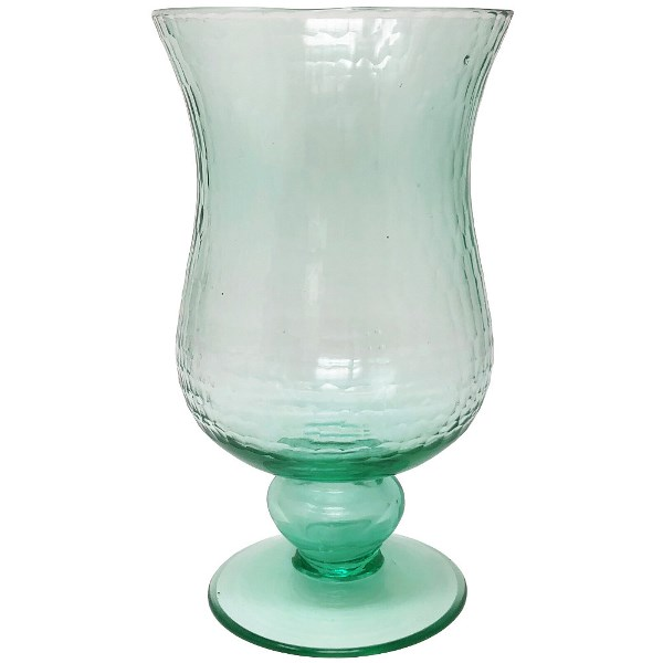 Small Glass Hurricane Candle Holder Ice Blue
