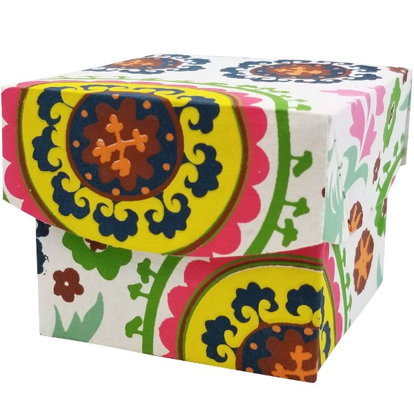 Small Paper Gift Box White Suzani