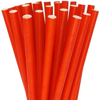 Solid Color Paper Straws 25pcs Red