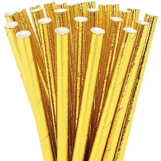 Solid Metallic Gold Short Cocktail Paper Straw 25pcs