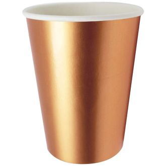 Solid Metallic Party Paper Cups (24pcs, Rose Gold) - Premier