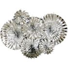 Solid Metallic Silver Paper Pinwheel Decorating Kit 6pcs