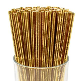 Solid Paper Straws (100pcs, Solid, Metallic Gold) - Premier