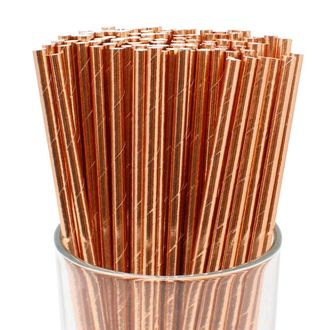 Solid Paper Straws (100pcs, Solid, Metallic Rose Gold) - Premier