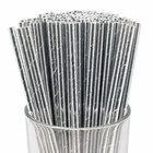 Solid Paper Straws (100pcs, Solid, Metallic Silver) - Premier